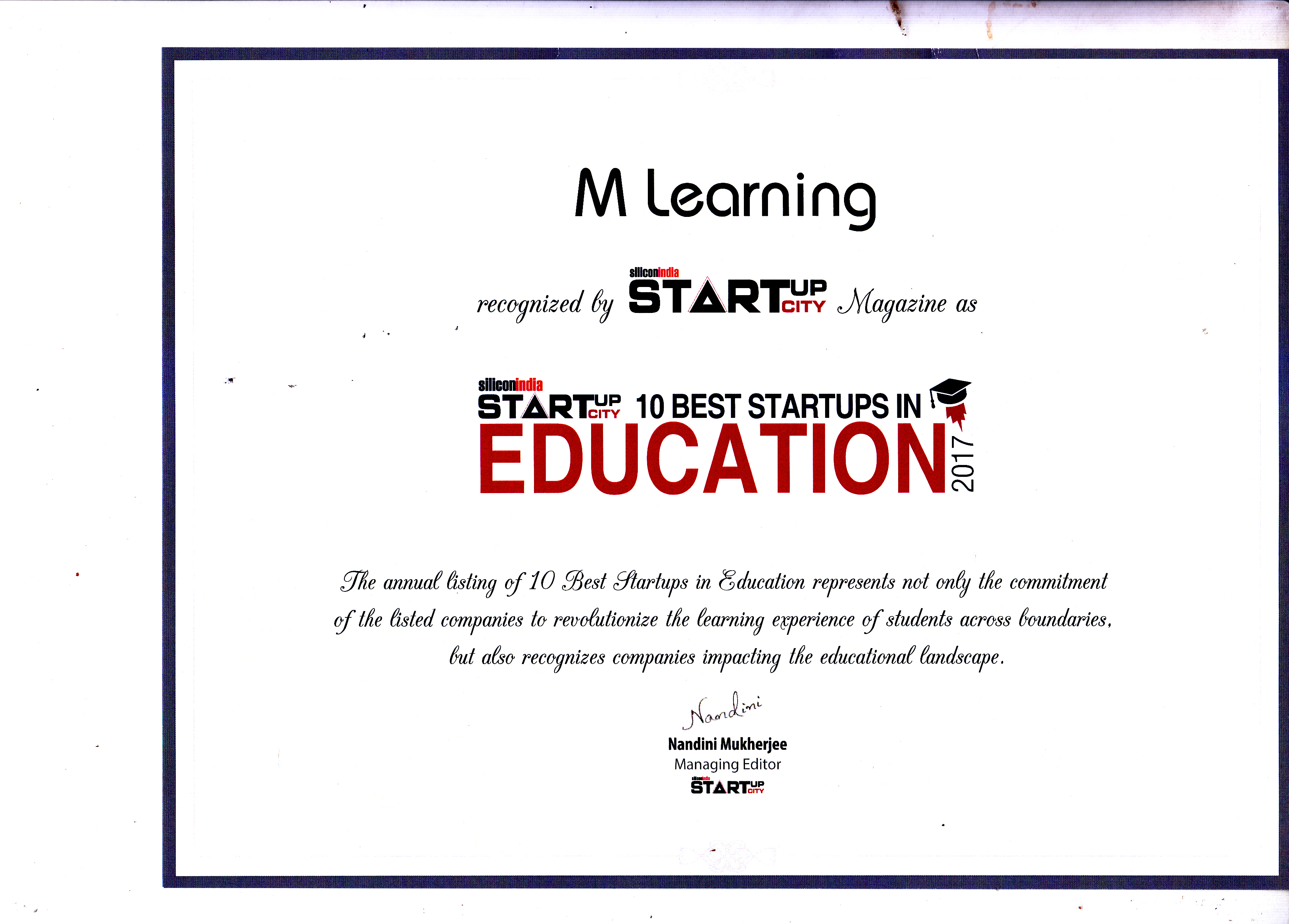 M learning education excellence awards silicon india certificate award 1betcityfo Image collections